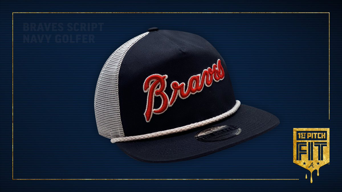 1st PITCH FIT 💦 Brand NEW Braves Clubhouse Store exclusive item! @NewEraCap Braves Navy Adjustable Golfer $35//Limited QTY. While Supplies Last. To purchase: 1. Screenshot this tweet. 2. Email it to retail@Braves.com & include your name/phone number. 3. We will call you!