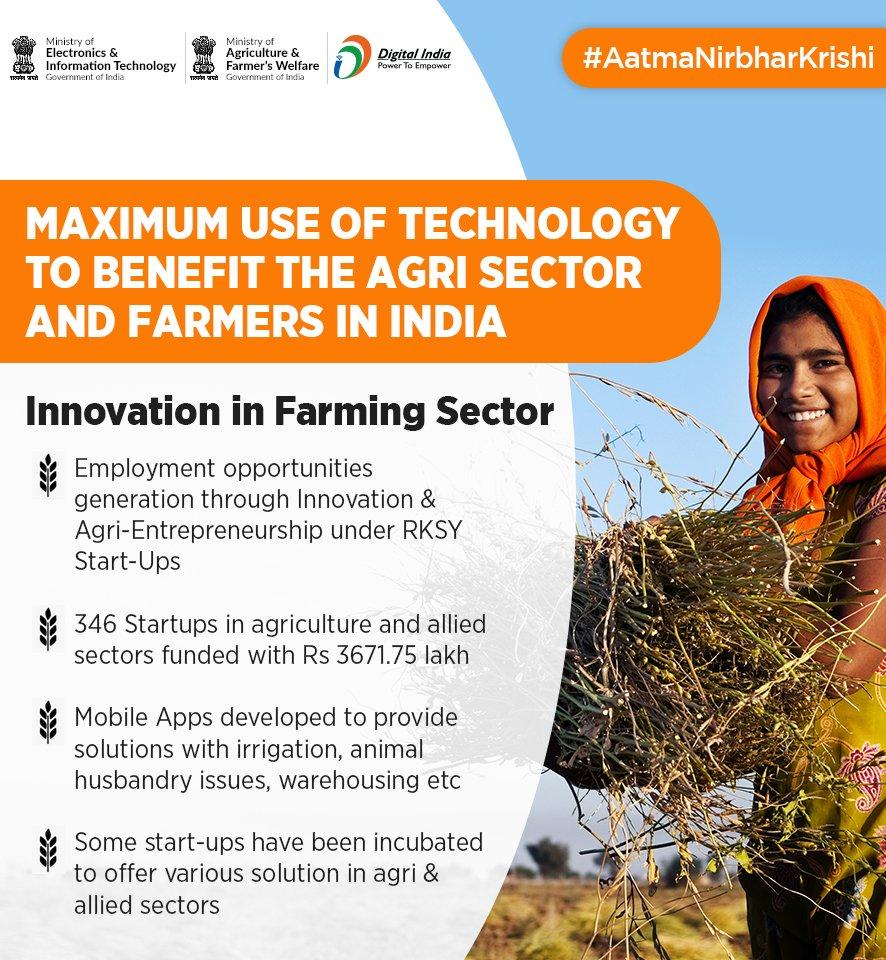 #AatmaNirbharKrishi | With the help of new innovation methods, employment opportunities are being created through Agri-Entrepreneurship under RKSY Start-ups. @AgriGoI @_DigitalIndia https://t.co/YVfjjGxdvv