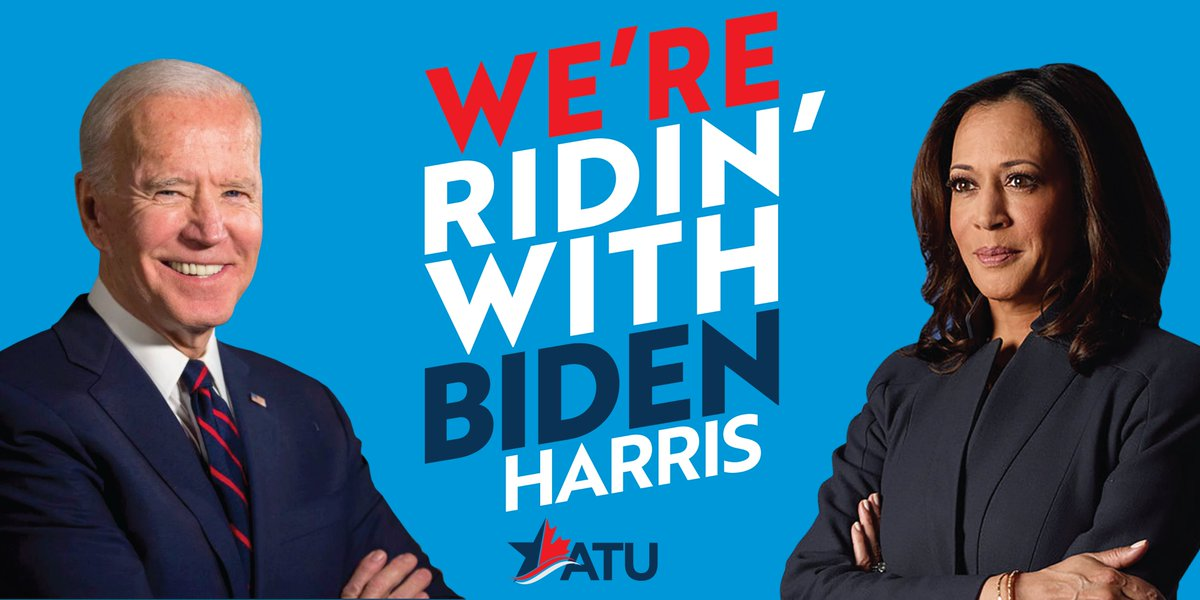 The ATU applauds @JoeBiden's historic pick of @SenKamalaHarris as his running mate. The ATU will be out in full force working to elect them in November. #RidinwithBidenHarris