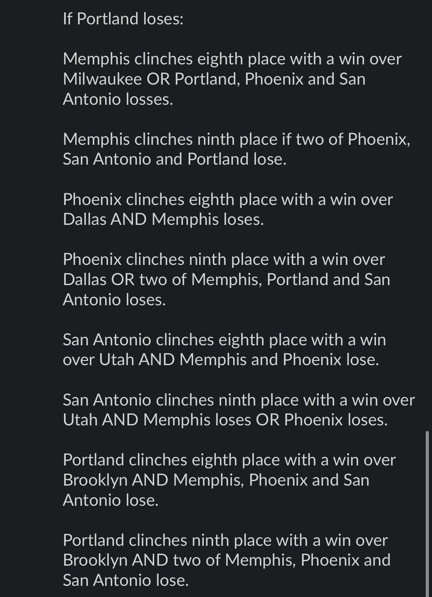 With Boston beating Memphis, there are currently four teams tied for the eighth spot in the West, pending the result of Portland-Dallas. Here are the possible scenarios that could play out, depending on how that game ends up: https://t.co/LzS4dxB6Wk