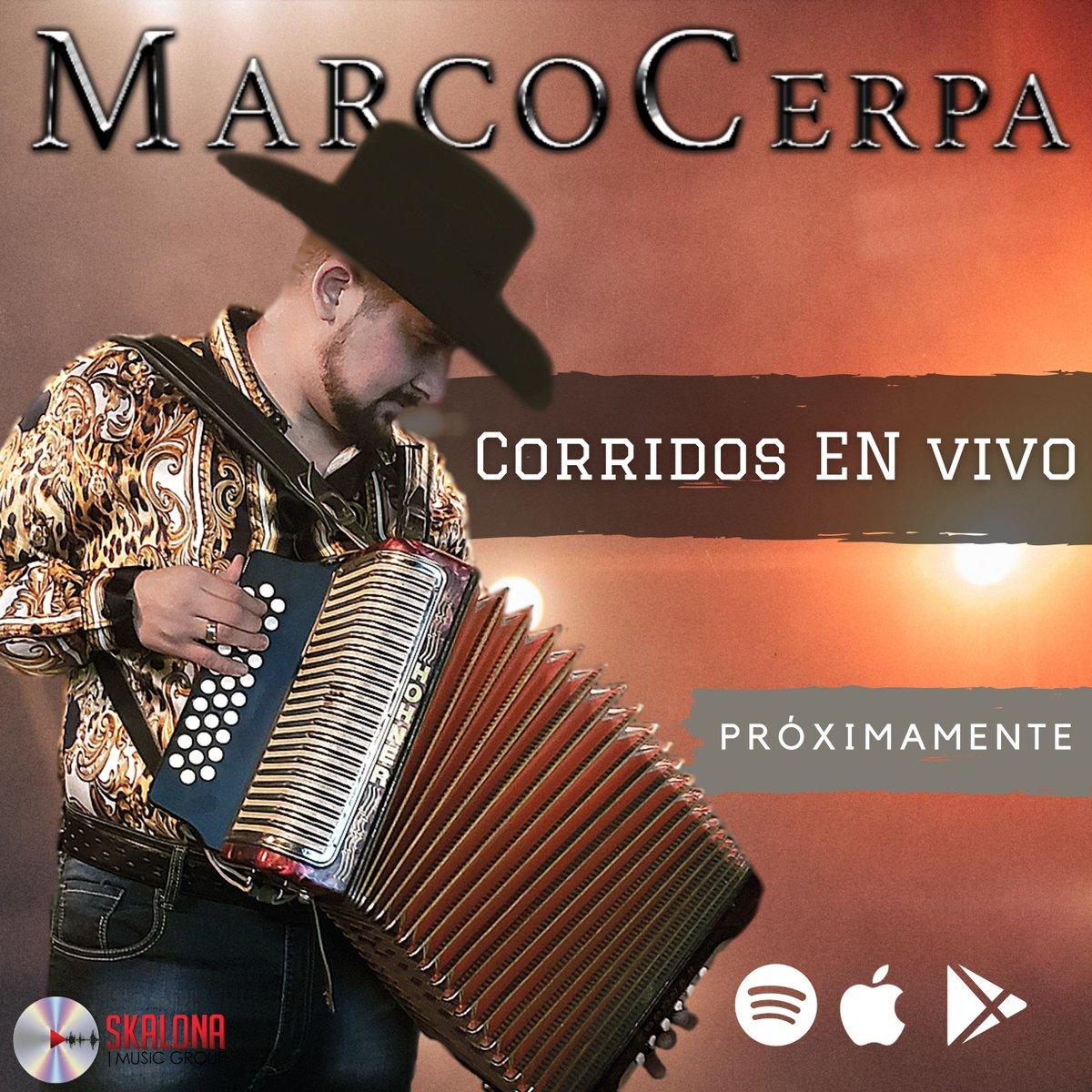 ¡Muy pronto los Corridos En Vivo de @marcocerpa8  estarán disponiobles en todas las plataformas! 🔥🎶 #Spotify #deezer #AppleMusic ¡De Jalisco pa'l mundo! 🤠🤠🤠 https://t.co/haEUd8t1LO