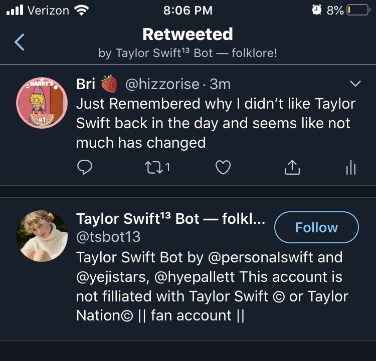 Great now I'm funny get fucking torn apart by Swift*es