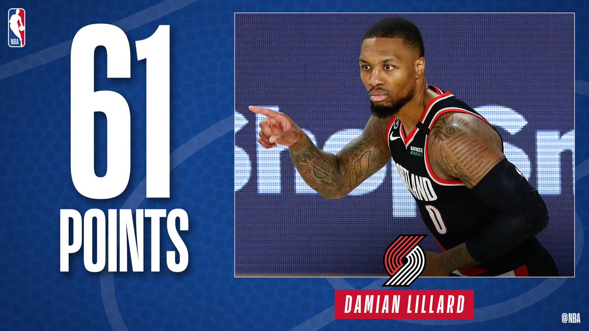 .@Dame_Lillard becomes the 6th player in @NBAHistory with 3 career 60+ point games! #RipCity #WholeNewGame https://t.co/ae7JwOJcj8
