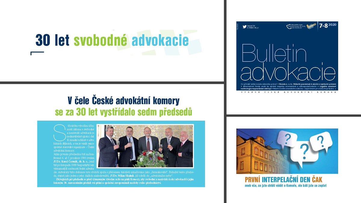 test Twitter Media - Letní dvojčíslo #BulletinAdvokacie právě vyšlo. Předsedové @CAK_cz se v něm ohlíží za 30 lety svobodné nezávislé #advokacie. Nepřehlédněte v něm rovněž pozvánku na PRVNÍ INTERPELAČNÍ DEN @CAK_cz - 16. 9. 2020 od 9 do 12 hod. https://t.co/L6wdH5LYSZ https://t.co/uqNFRKr0TG