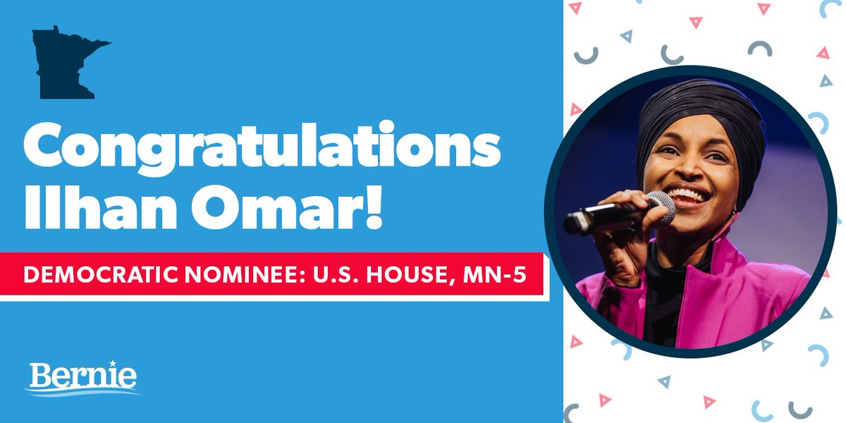 Congratulations to @IlhanMN, a leader of incredible courage, for winning her primary in Minnesota tonight. Americans want bold, progressive leaders like Ilhan in Congress, and together we will create a nation that works for all. https://t.co/jWhdoYHYCe