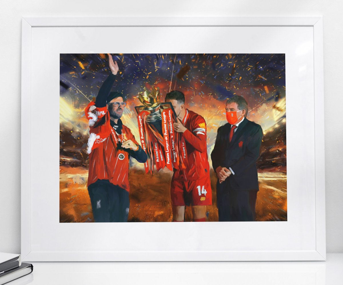 Bursting with pride:  🏆 GENERATIONS  🖼️ Stunning NEW portrait print, inspired by the #LFC title hand-over after 30 years. Featuring Sir Kenny Dalglish, Jurgen Klopp & @JHenderson.  📏 Sizes: A5, A4, A3  📦 Fast Worldwide Shipping  ➡️ From only £9 https://t.co/F2iJQZlskR https://t.co/6aeRVaCt6i