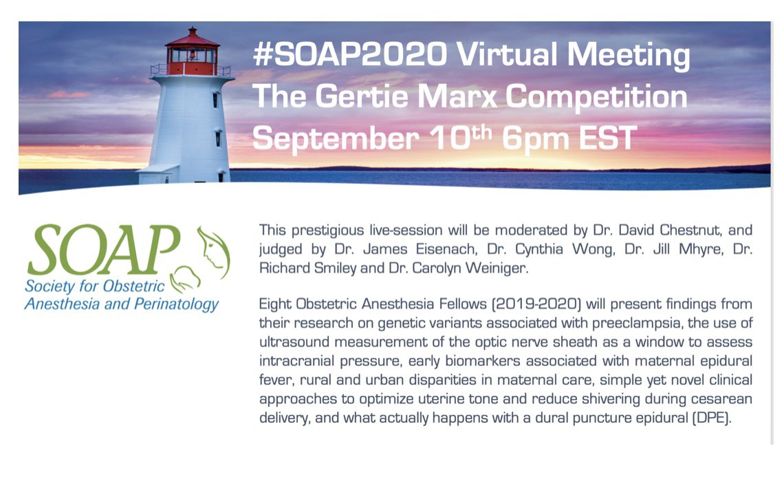 #ObAnes   Congratulations @BrighamOBAnes 👏🏻  We have some great news!! The Gertie Marx Competition on September 10th at 6pm EST, and all #SOAP2020 Virtual Events this fall will be OPEN to all @SOAPHQ members & non-members as well - CME credits available  https://t.co/RHIfUokTVT https://t.co/mD6cNTlyMS https://t.co/XrOyYvpea1