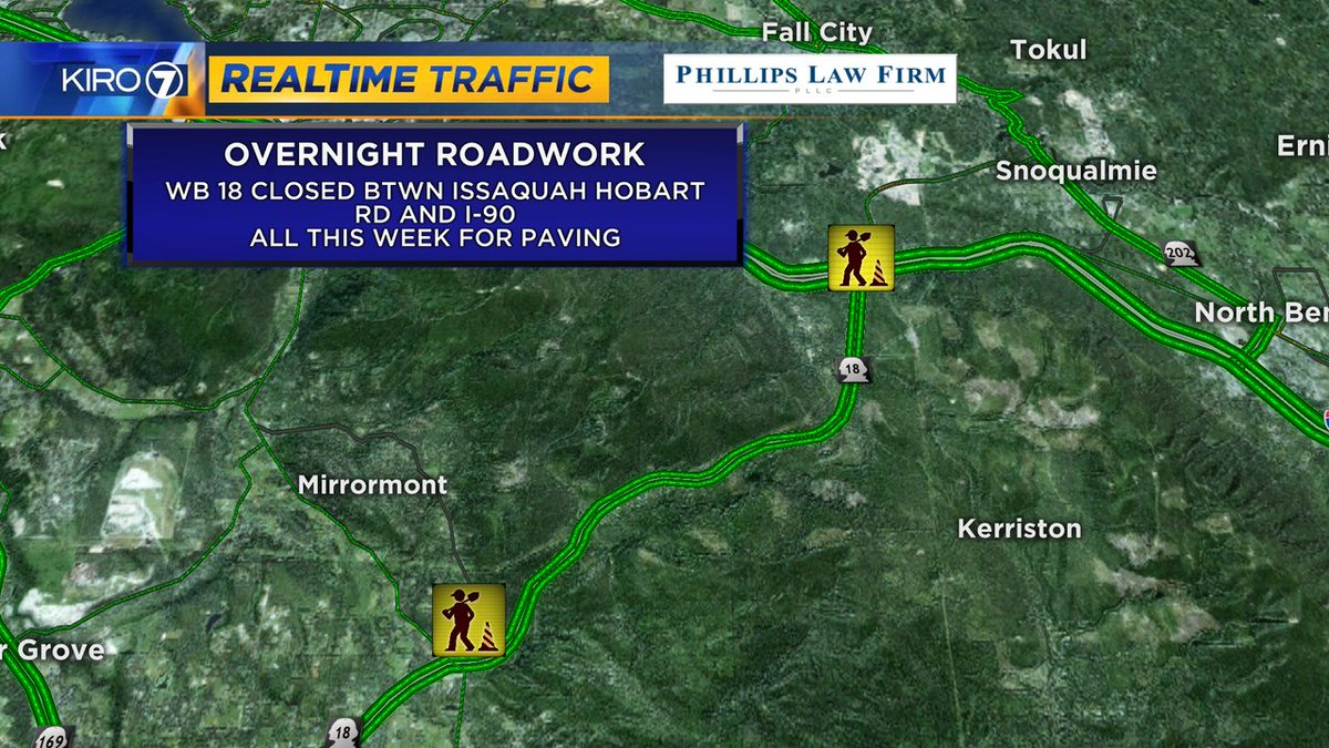 WB lanes of HWY 18 closed btwn I-90 and Issy Hobart Rd for paving work overnight  #kiro7traffic #seattletraffic #kiro7 #seattle #traffic https://t.co/o5reoQLlbK