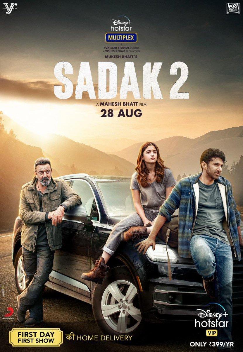 #Sadak2Trailer  https://t.co/8Ylvt7CGSR    To premiere on 28Aug on Disney+ Hotstar VIP, it's the fourth movie on the platform   @aliaa08 #AdityaRoyKapur @duttsanjay @poojab1972 @maheshnbhatt #MukeshBhatt @DisneyplusHSVIP @VisheshFilms @foxstarhindi @gulshangroverGG @mohankapur https://t.co/koG61JSPi8
