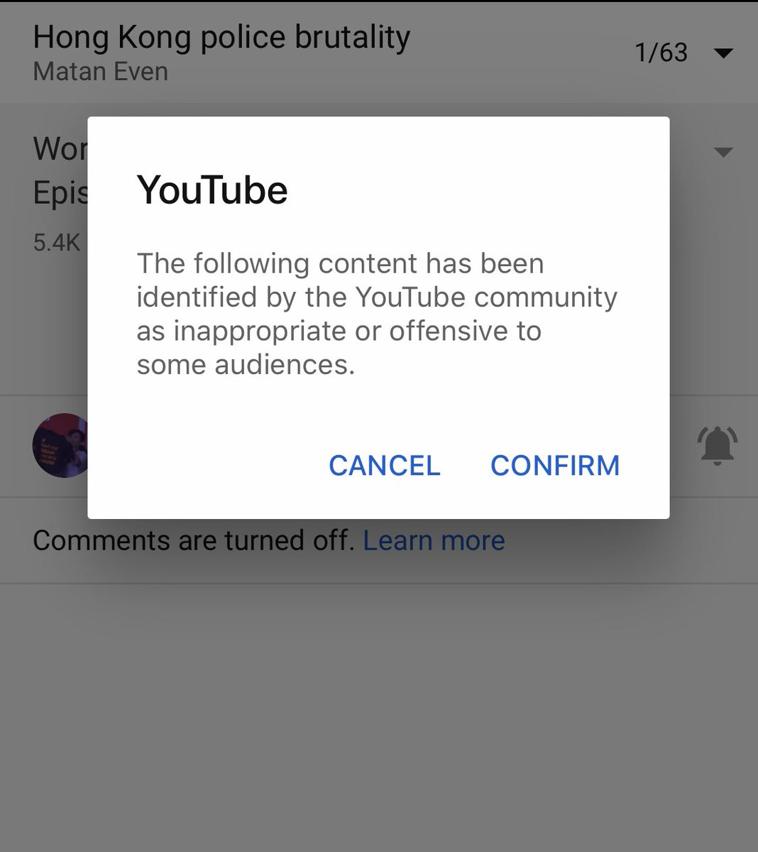 .@YouTube has now sadly age restricted my entire playlist of #hongkong police brutality videos. Youtube has also previously taken down multiple of my videos. Playlist of videos - https://t.co/ifTlmC0Dnz 😷😷 https://t.co/yDgWswsy3L