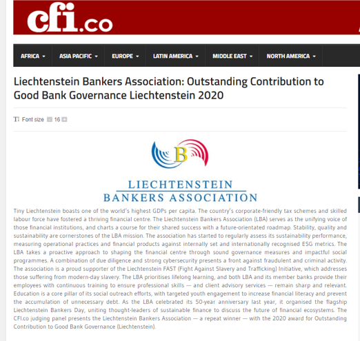 We are delighted to receive 2020 Award for outstanding contributions to good #governance for our long-term efforts towards promoting #sustainable finance.  #CFI especially acknowledges our dedicated support for fight against modern slavery. #Liechtenstein https://t.co/zEKJpMz63Q https://t.co/h9umAKcAzC