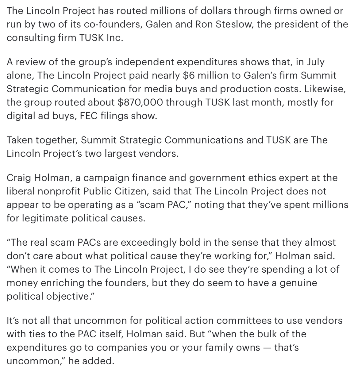 The Lincoln Project targets still more Republicans. Anti-Trump crusade turning into a financial bonanza for some of the groups founders. From @thehill thehill.com/homenews/campa…