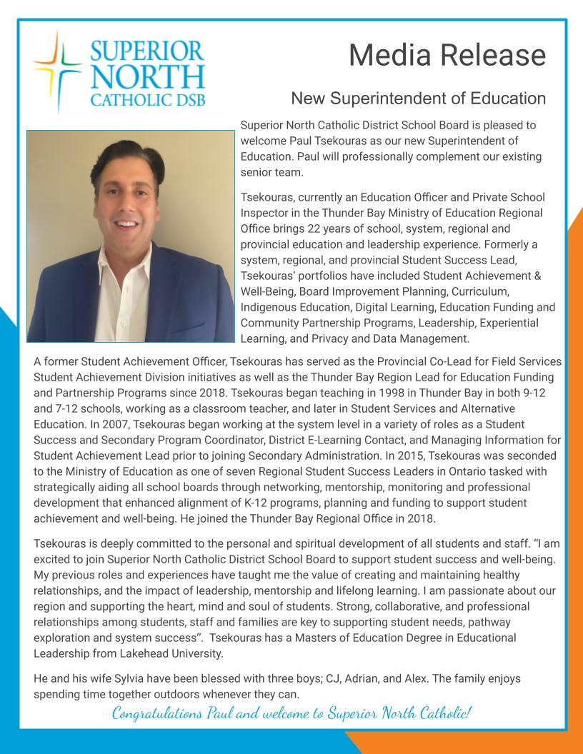 Superior North Catholic District School Board is pleased to welcome Paul Tsekouras as our new Superintendent of Education. Paul will professionally complement our existing senior team.   https://t.co/hWmXxtNDMj   Congratulations Paul and welcome to #SNCDSB! https://t.co/Oz7IqnbaKF