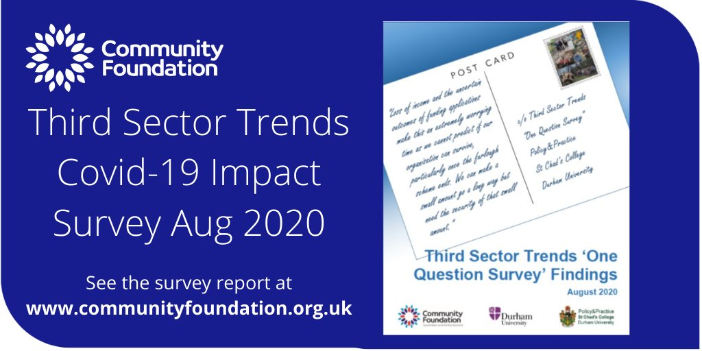 **Out Now** The Covid-19 Impact Survey from our #ThirdSectorTrends research programme shows (as others reports do) that Charity CEOs confidence has evaporated during Covid-19. Yet their comments also show a measured response and even opportunities. communityfoundation.org.uk/post/third-sec…
