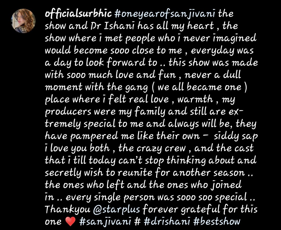 """""""Place where i felt real love, warmth, my producers were my family and still are extremely special to me and always will be, they have pampered me like their own""""  This hit me so deep, the caption have my entire heart.   #SurbhiChandnapic.twitter.com/umdv1Ozbhe"""