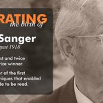 Image for the Tweet beginning: #OTD 1918 Fred Sanger was