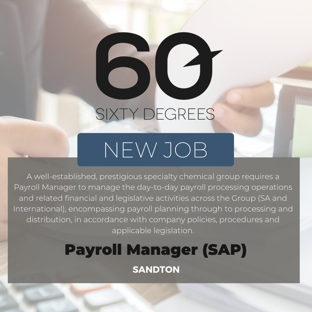 test Twitter Media - New #JobAlert - Payroll Manager (SAP) in Sandton  For more information & to apply, please click on the link below;  https://t.co/dODIGRuuRt  #60Degrees #60DRecruiter #60Droles #payrollmanagement https://t.co/hGzdpSvuDT