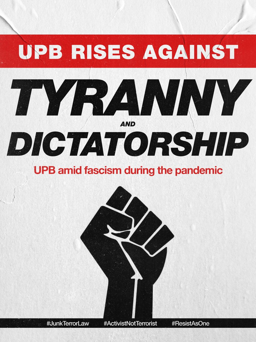 UPB RISES AGAINST TYRANNY AND DICTATORSHIP UPB amid fascism during the pandemic  The UP Baguio community unites and rises together to resist the continuous fascist attacks of the Duterte regime despite the pandemic!   #JunkTerrorLaw #ActivistNotTerrorist #ResistAsOnepic.twitter.com/rgjRZMulvS