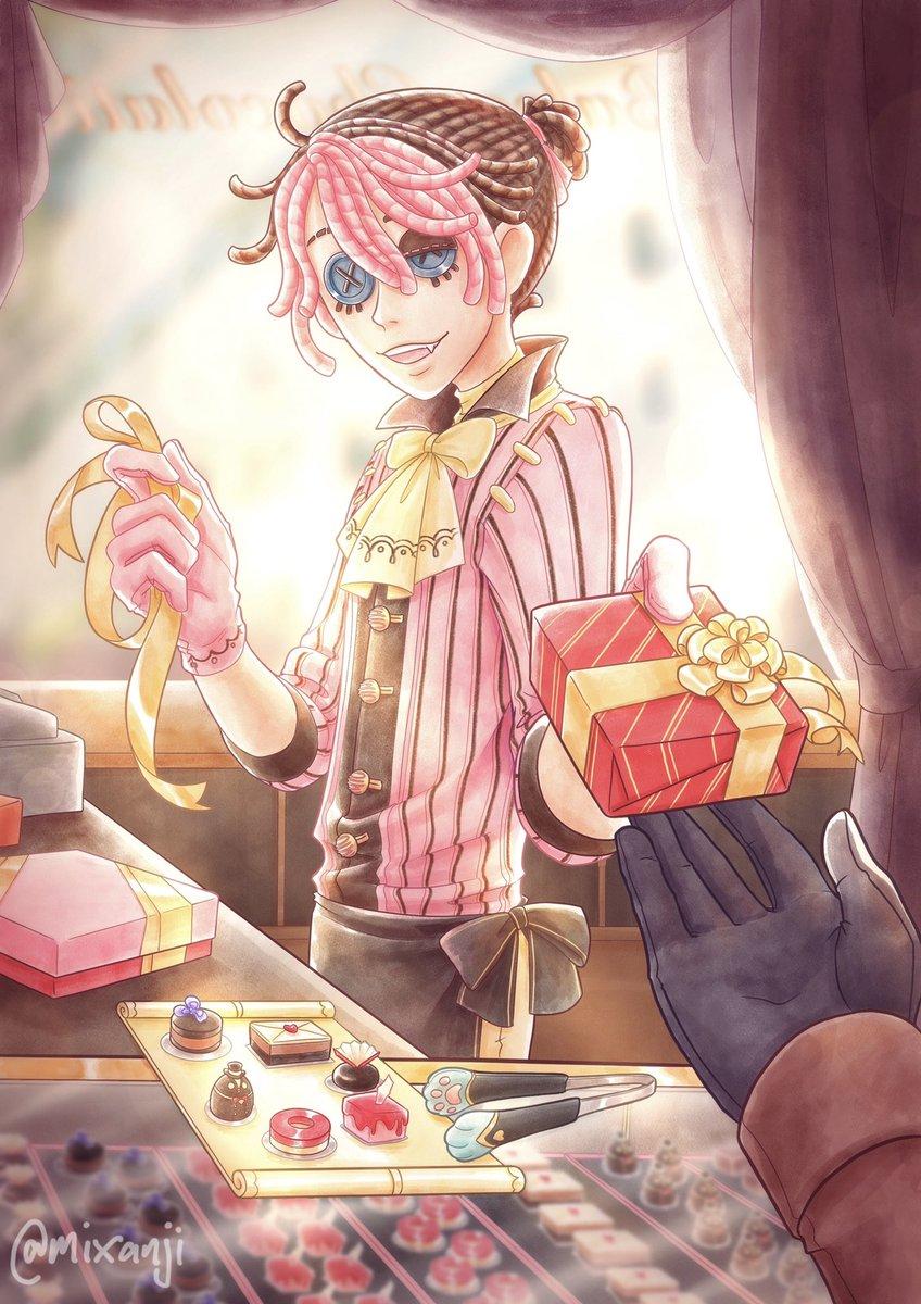 """囚人 Luca Balsa """"Chocolates make the best gifts, if I do say so myself! And here we have the finest—oh! Excellent choice! Let's get these boxed and wrapped up nicely then, shall we?"""" Chocolatier Luca - fan skin concept #identityv #第五人格"""