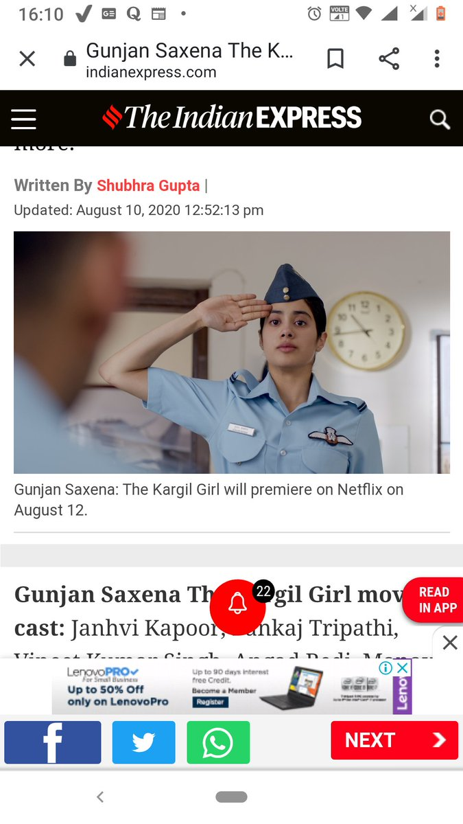 Prachi Singh On Twitter Gunjansaxena Atleast Do Homework While Release A Movie On Indian Air Force The Way Jhanvi Kapoor Salute In Movie Is Absolutely Wrong Kuch Toh Mehnat Kar Lo