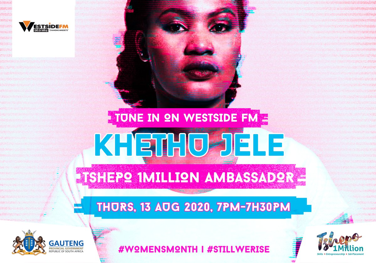 🌸In honour of #WomensMonth we would like to celebrate @Tshepo1Million ambassador Khethu Jele. @Khethuj will be on @West_SideFM on 98.9MHz on the 13th of August 2020 from 19h00 to 19h30. Tune in to hear ukuthi T1M ingakusiza kanjani! See you there! #StillWeRise #Womensmonth https://t.co/rtZbFH16gv