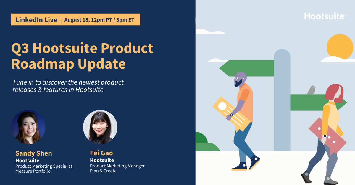 Social engagement rates are 📈 by 61%, with consumers turning to social for more updates & connection 🌐  Join our Product Marketing team for a #LinkedInLive as they walk you through the newest product updates and features in Hootsuite in Q3. https://t.co/ApNjpxcQMI https://t.co/gSLbcs5awN