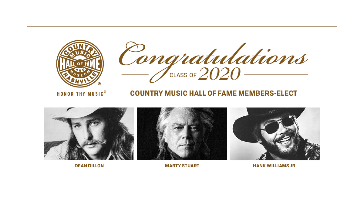 JUST ANNOUNCED: Dean Dillon, @martystuarthq, and @HankJr are joining the #CountryMusicHallofFame. Congratulations to the new members-elect!  For more, click here: https://t.co/bXyitsVW8u  #HonorThyMusic https://t.co/ccILvcfHcg