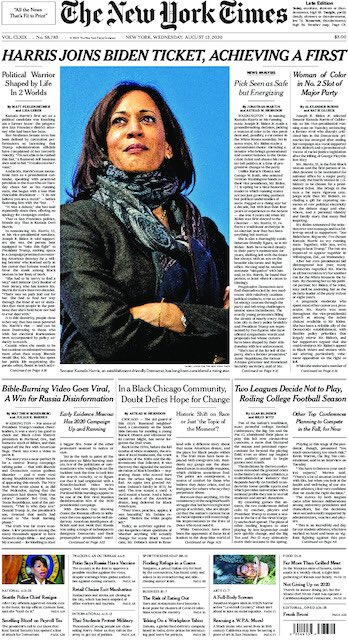 THREAD 🧵: Front pages across the world praise the historic selection of @KamalaHarris for Vice President.  First, @nytimes: https://t.co/U1CNLrpBr5