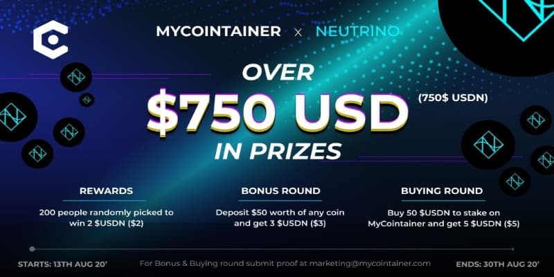 #Giveaway:MyCointainer x Neutrino Giveaway  Estimated value:2$ USDN Referral: YES Rate: (5/5)    Win a share of 750$ USDN   Email, Twitter, Telegram    Claim your Airdrop:  https://freecoins24.io/mycointainer-x-neutrino-giveaway/ …  #Airdrop #Airdrops #crypto #BTC #freemoney #earnmoneypic.twitter.com/DjLoa4Wyx7