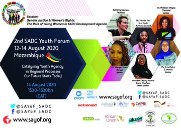 #COMINGUP: #SADCYouthForum Plenary Session addressing #Gender, #Justice & #Women's #Rights today (12 Aug 2020) at 15:30 CAT.  Register for this session at https://t.co/ysXQTaayWV and follow forum conversations via  @SAYoF_SADC .  #IYD2020 #TiniTwitter https://t.co/4R2MXPn8FB