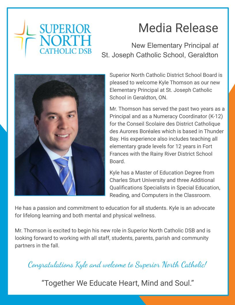 Superior North Catholic District School Board is pleased to welcome Kyle Thomson as our new Elementary Principal at St. Joseph Catholic School in Geraldton, ON. #SNCDSB https://t.co/PSl5uC58Cq