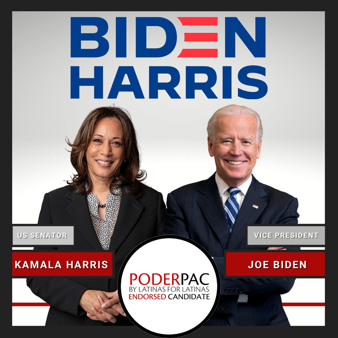 PODERPAC is delighted to endorse Vice President Biden and Senator Harris in their campaign to take the White House this November!
