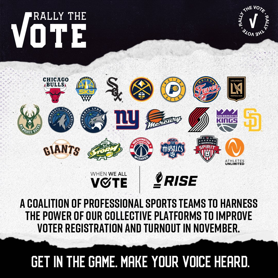 The time is now to Rally the Vote. We've joined a coalition of 20 sports teams, @RISEtoWIN & @WhenWeAllVote for a non-partisan effort to improve voter registration & turnout for the Nov. 3 election » https://t.co/sCKbuNLjCN https://t.co/W5iZ5dyrp8