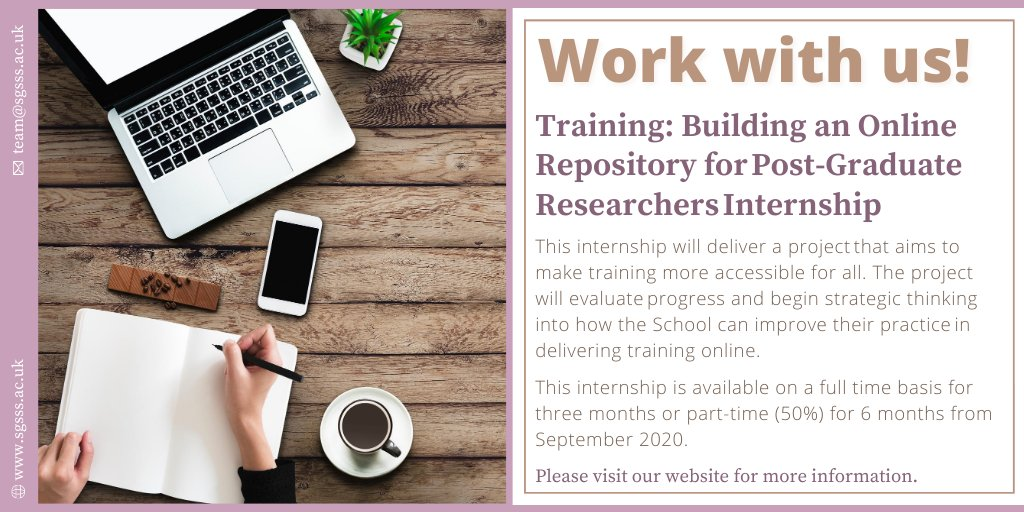 Today's #internship spotlight is on the SGSSS Training Internship: Building an Online Repository for Post-Graduate Researchers. This exciting opportunity aims to make training more accessible for all, and is available on a full/part-time basis from Sep 👉https://t.co/V2Z6BU1odt https://t.co/1wMVSr8yCO
