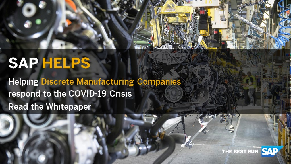 COVID-19 has reshaped the ecosystem of discrete manufacturers. Explore how #SAP is helping companies within the Industrial Manufacturing industry respond to the COVID-19 crisis: https://t.co/T51MzIl0Hu https://t.co/EtGgrJM82a