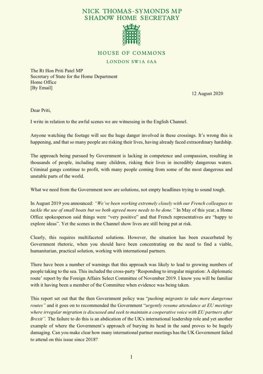 The Government's approach to the awful scenes in the English Channel lacks compassion and competence. We must not militarise a humanitarian crisis. I've written to the Home Secretary demanding answers: