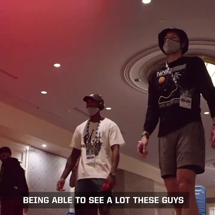 """""""Being able to see a lot of these guys outside of basketball is always a blessing.""""  @lonniewalker_4 gave us an all-access tour of life inside the bubble!   @FrostBank 