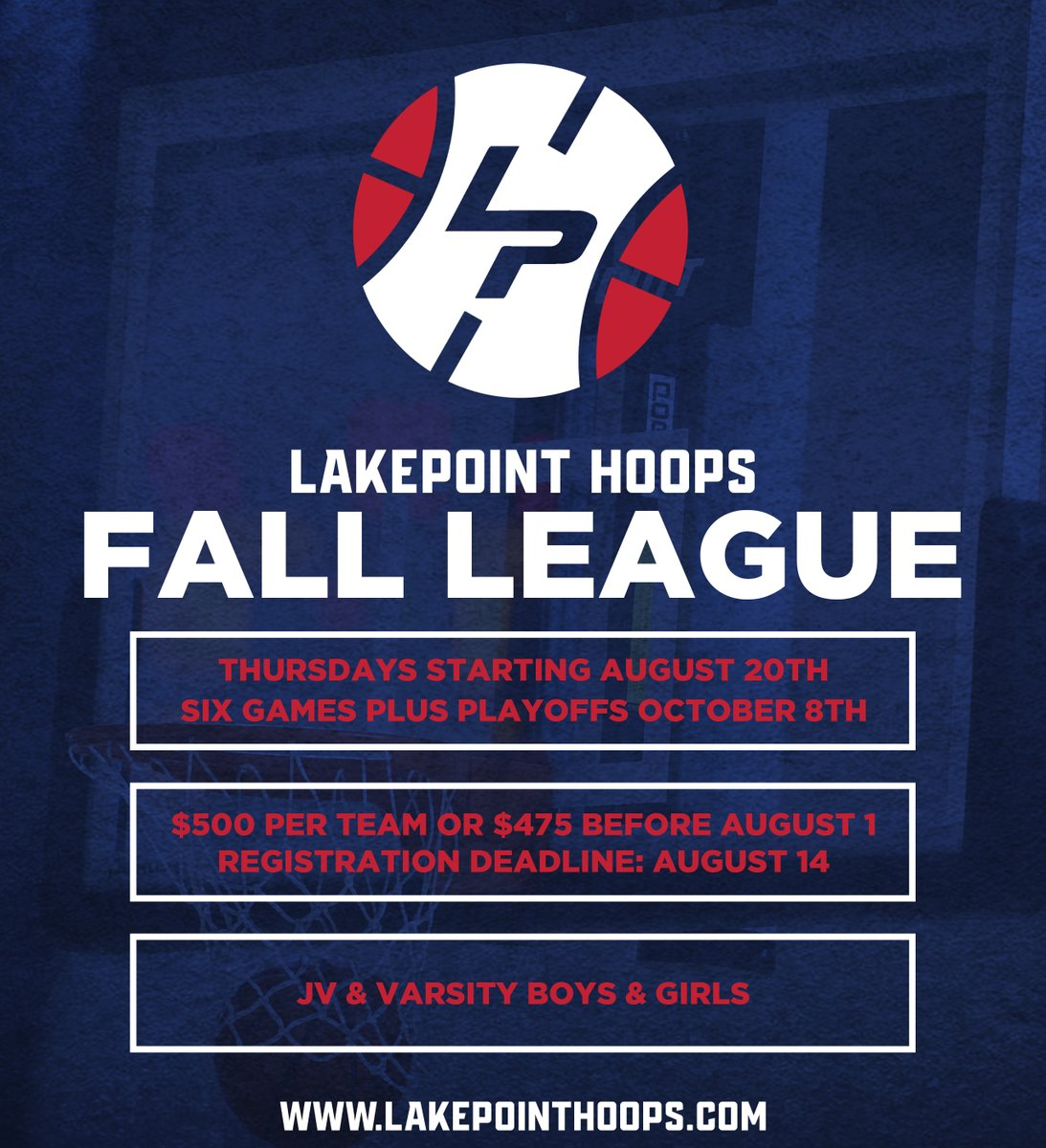 Friday is the deadline to register for the #LakePointHoops Fall League. We're just about full, so get locked in today!  Register: https://t.co/x2uZX0WNlb https://t.co/pYCg5Pa7qU