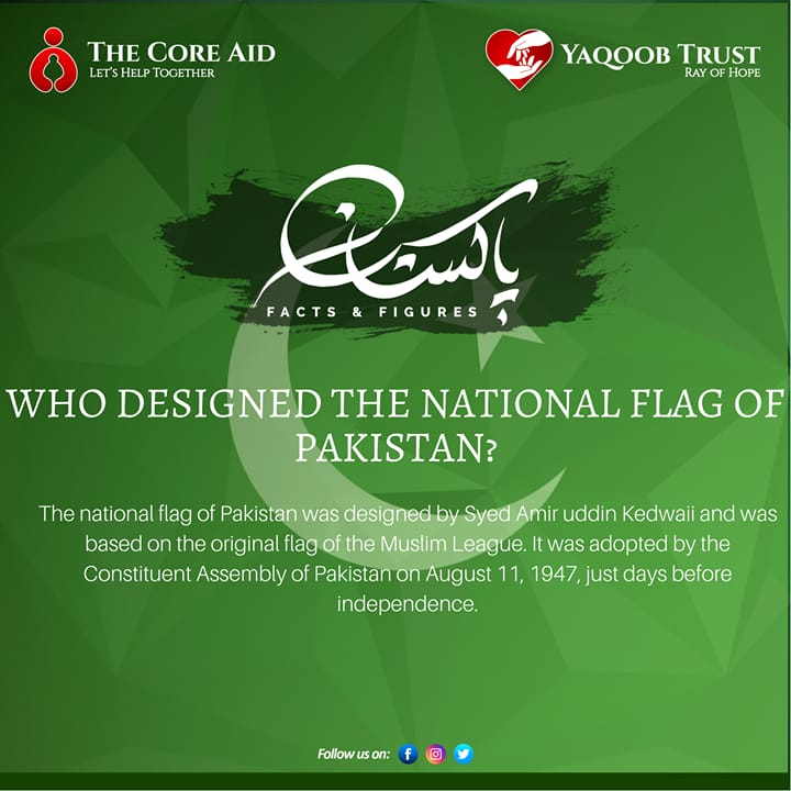 Pakistan Facts and Figures♥️🇵🇰♥️  Who designed the national flag of Pakistan??  #YaqoobTrust #TheCoreAid #Pakistan #Name #peace #facts #pakistani #🇵🇰 #OurCountry #LongLivePakistan https://t.co/RGLAuCYlXL