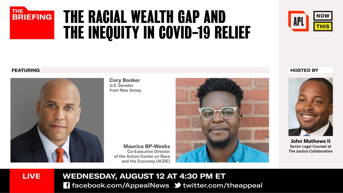 """Racial wealth inequality is increasing and the government is failing to provide equitable relief in light of the pandemic. Today on """"The Briefing"""" Sen. @CoryBooker will discuss what legislation is out there that could start to turn the tide, live at 4:30 ET/1:30 PT. https://t.co/EKpPYsM1vp"""