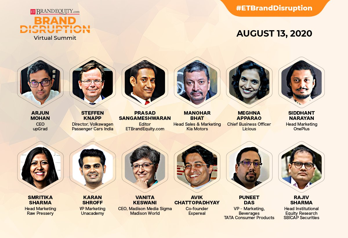 #Live in 10! Watch thought leaders across industries come together and share their insights for using disruption as a catalyst for improvement at #ETBrandDisruption   Time- 11:00 am- 01:00 pm  Join now- https://t.co/OcTmdaSpQ8 https://t.co/saThYDtOwh