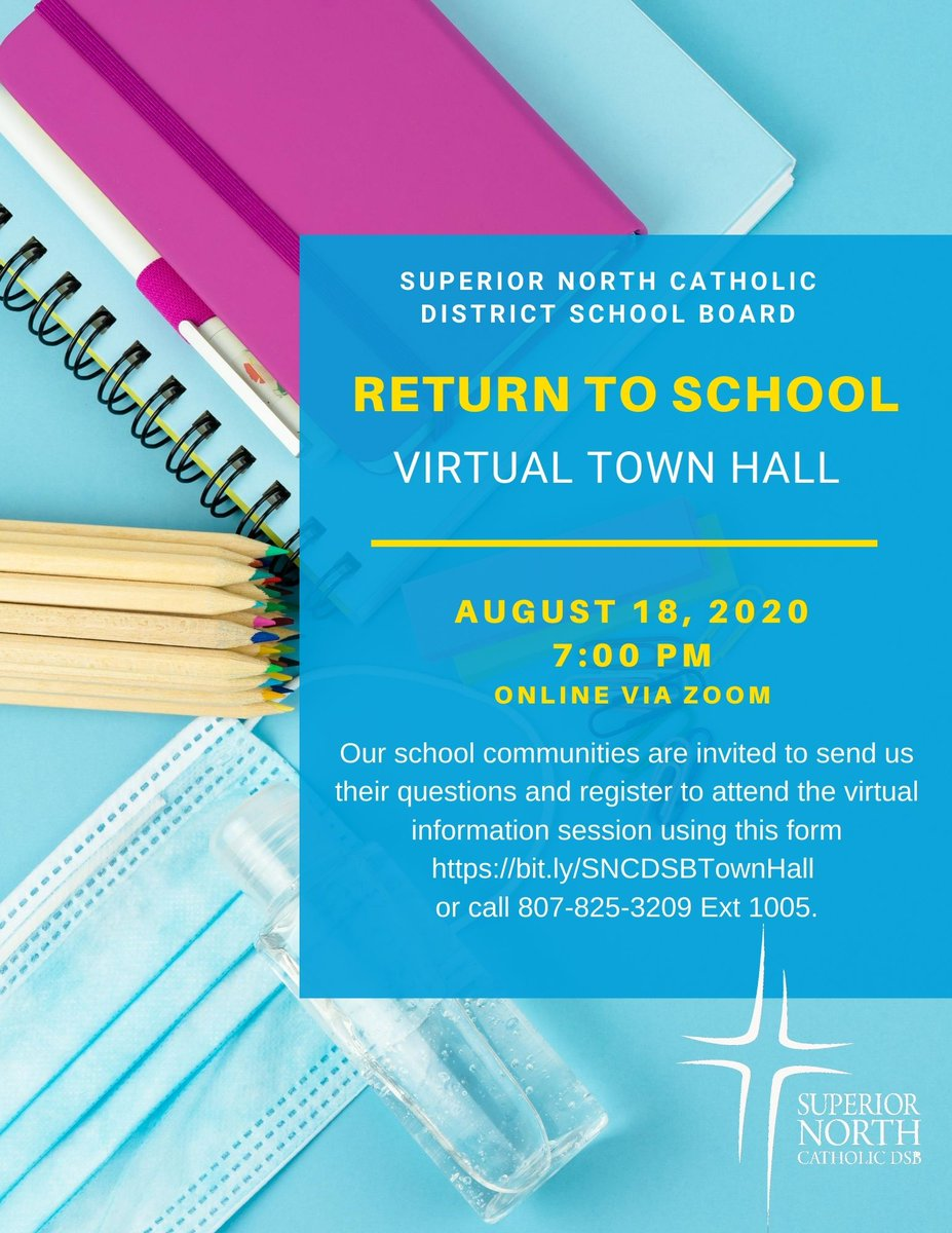 Our #SNCDSB Return to Learning Virtual Town Hall will take place on Aug 18 with Maria Vasanelli, Director of Education. Our school communities are invited to send us their questions and register to attend the information session using this form https://t.co/h8g9eOSoKr https://t.co/GW1av07chp