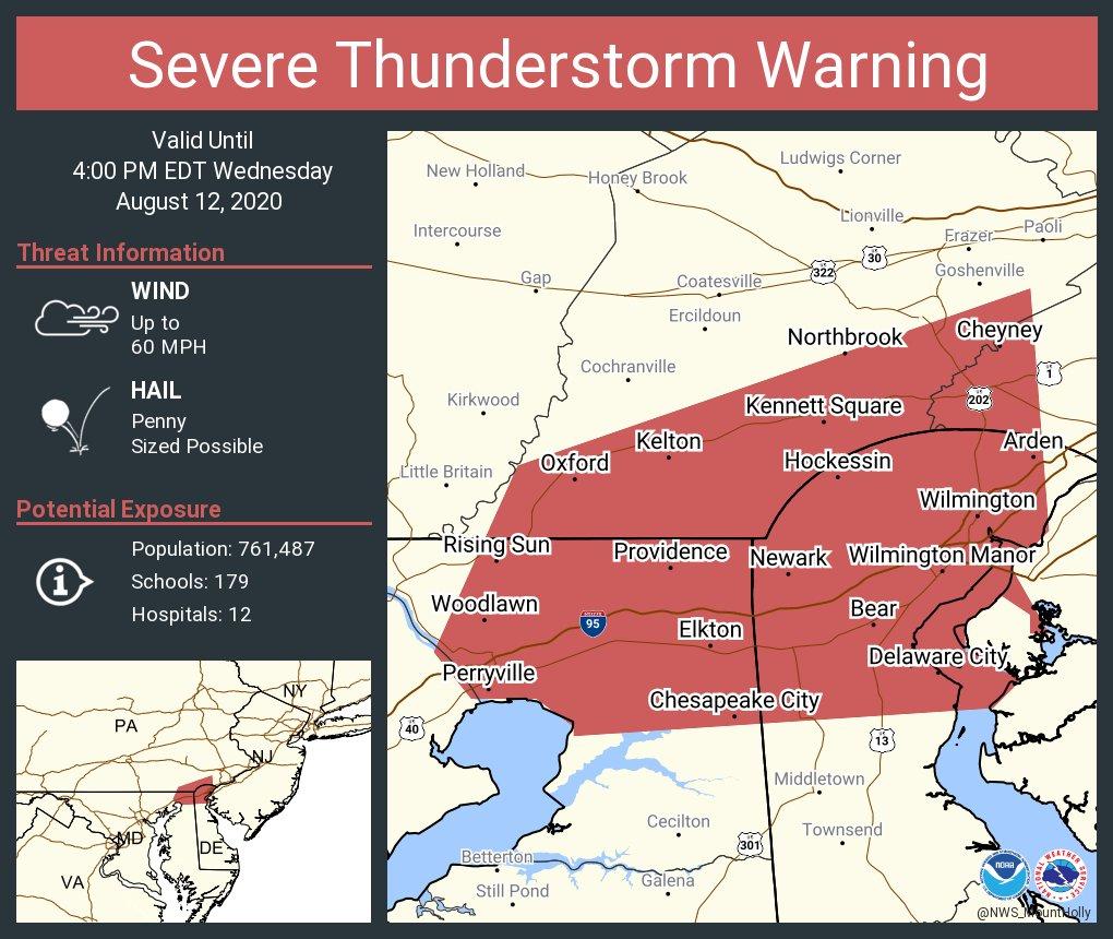 Severe Thunderstorm Warning including Wilmington DE, Newark DE, Bear DE until 4:00 PM EDT