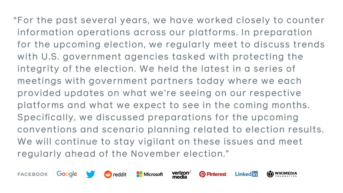 Today we joined industry peers and US government partners as we work to counter shared threats to the online public conversation ahead of the 2020 US Elections. Our joint statement. 👇