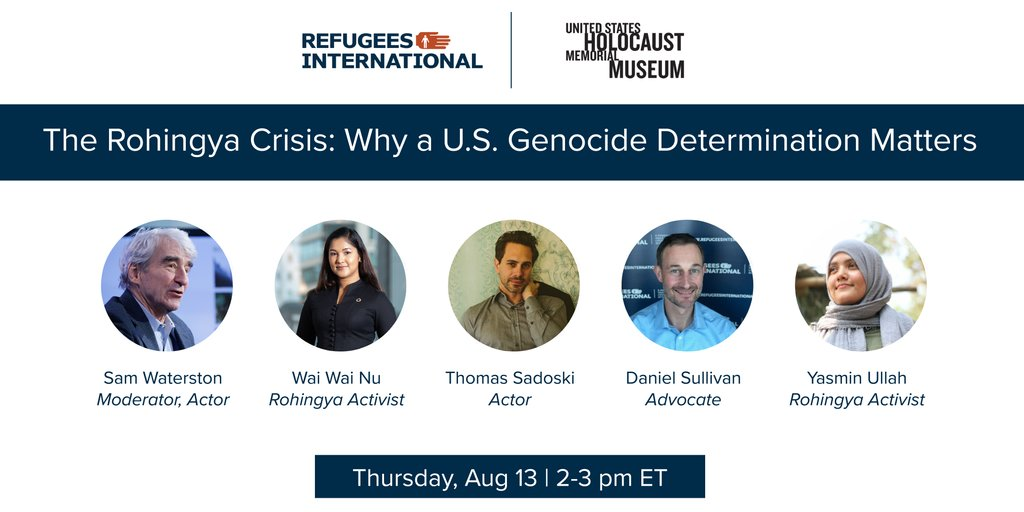 3 yrs ago, ~800,000 Rohingya were forced to flee #Myanmar.  Tomorrow join us & @CPG_USHMM for a webinar on the #Rohingya crisis.  Hear from @EndGenocideDan @waiwainu @YasminJUllah @ThomasSadoski & Sam Waterston on why it's time to #CallItGenocide👇 https://t.co/5HBJFDfr9H https://t.co/Ax2t6P2jBE