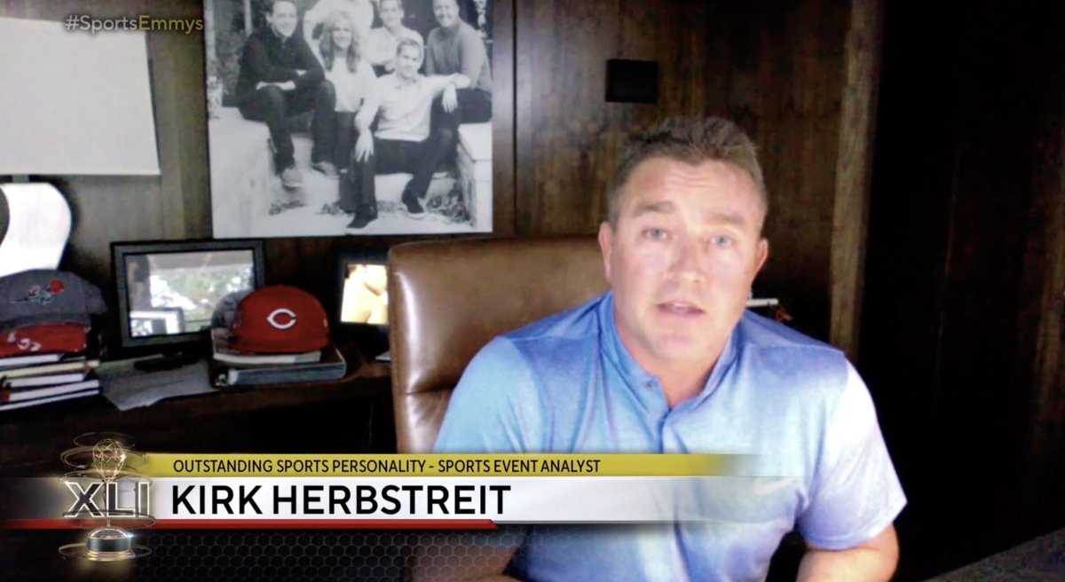 An emotional @KirkHerbstreit expresses his gratitude following his win for 'Outstanding Sports Personality - Sports Event Analyst' at the 2020 @sportsemmys  With this individual award win, his fifth, Herbstreit becomes the most-honored ESPN commentator in history https://t.co/9IZYdxWR1x