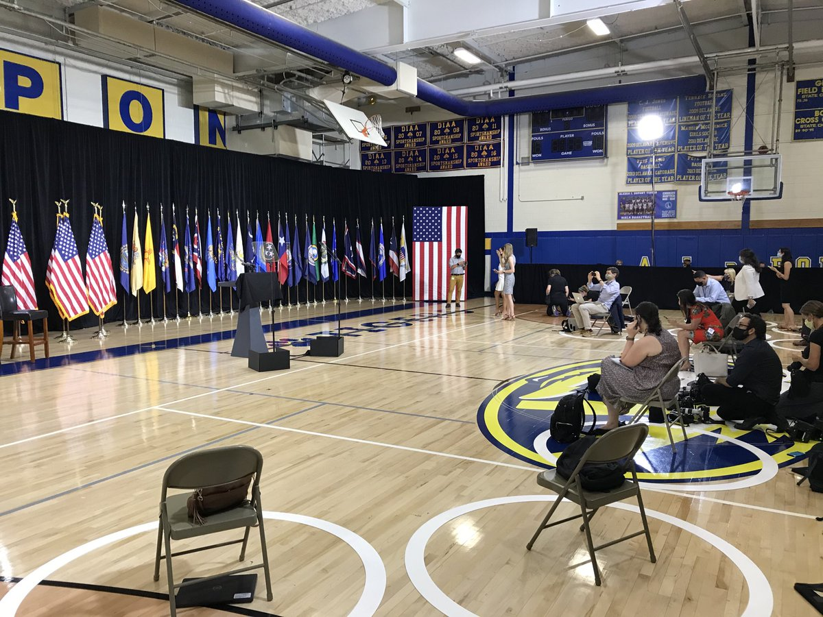 The scene at Alexis I. du Pont High School in Wilmington, Del., where Biden and Harris will soon make their debut as a ticket https://t.co/cZFXdAuIoE