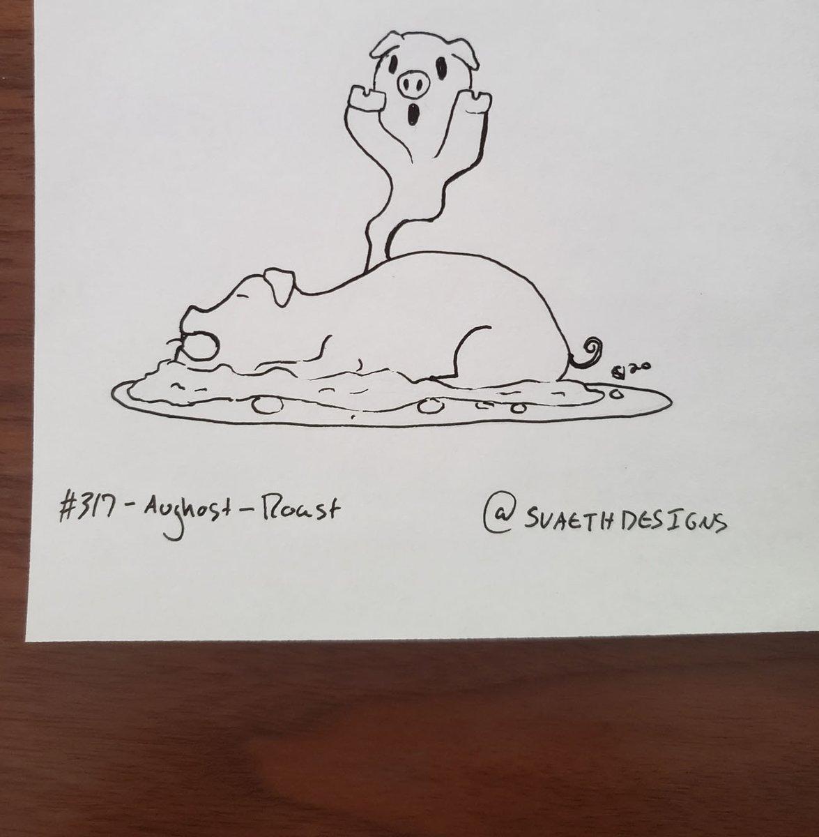 Sketch Daily - 317 - Aughost - Roast    #sketchdaily #roast #roastpig #pig #feast #food #dinner #ghost #spirit #aughost #Aughost2020 #artprompts #artwork #pen #ink #drawing #illustration  #doodle #dailyart https://t.co/usOHEJhSaX