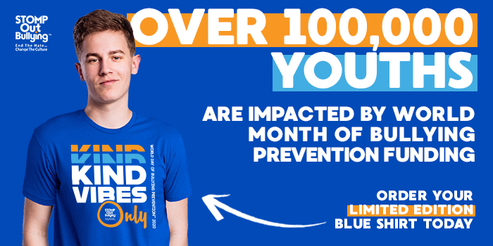 Raise your voice to #ChangeTheCulture and bring awareness to #bullying prevention. Wear your support & #BlueUp for World Month of Bullying Prevention. Join us in solidarity to stop bullying and #cyberbullying! Get your limited 2020 blue shirt now: https://t.co/mF4KTyWLG1 https://t.co/tap4utAU29