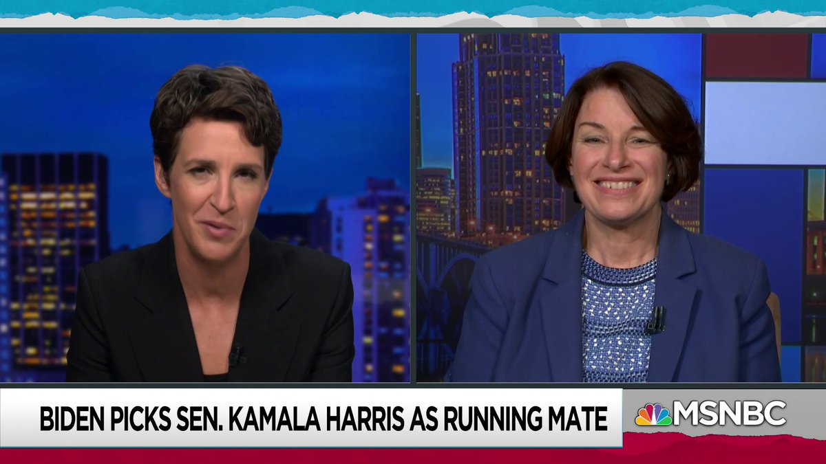 Live now on @MSNBC: Sen. Klobuchar joins @Maddow to discuss Sen. Harris' VP candidacy msnbc.com/live
